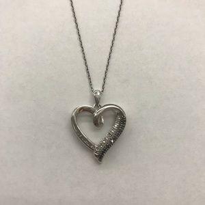 Kay Jewelers Heart Necklace Black & White Diamonds